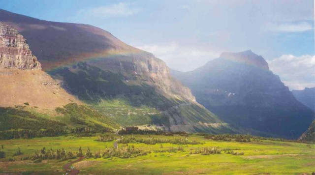 Rainbow after rainstorm, Logan Pass, Glacier National Park, Montana, July 30, 2004.
